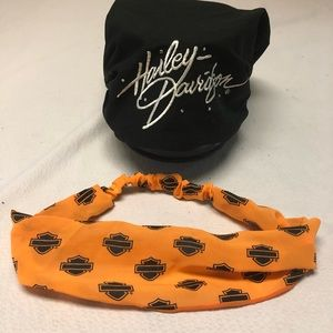 Harley Davidson orange headband and Bk headscarf